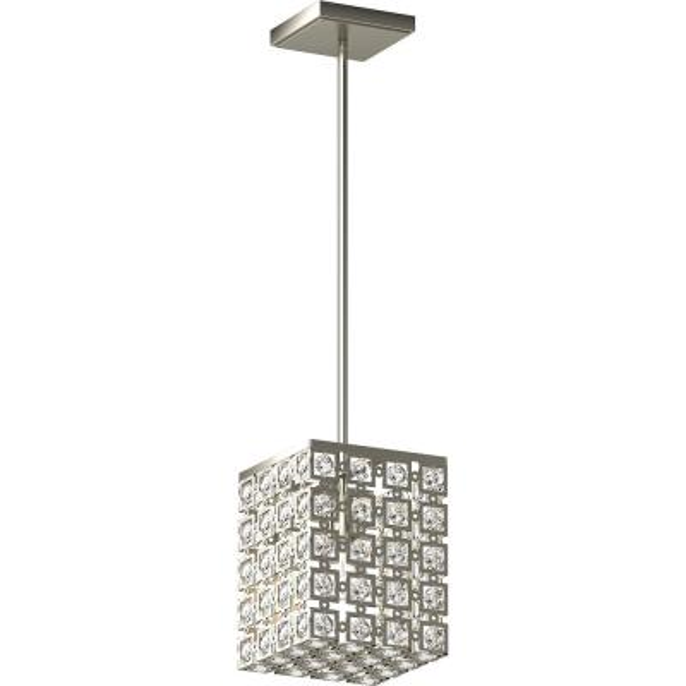 1-Light Indoor Brushed Nickel Square Rectangle Downrod Mini Pendant, Sparkling Bejeweled Glass Diamond Jewel Crystals