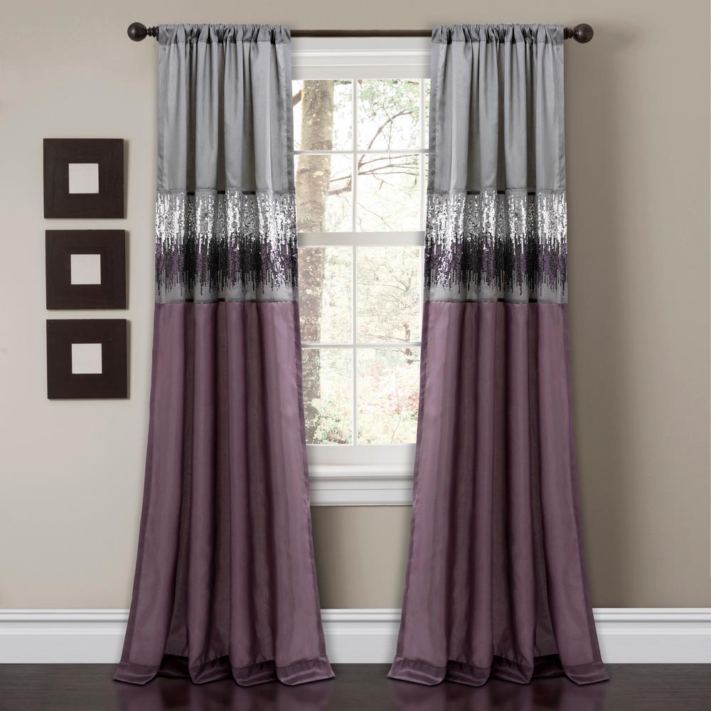 "Night Sky Window Panels Purple 84"" x 42"" Single 100% Polyester"