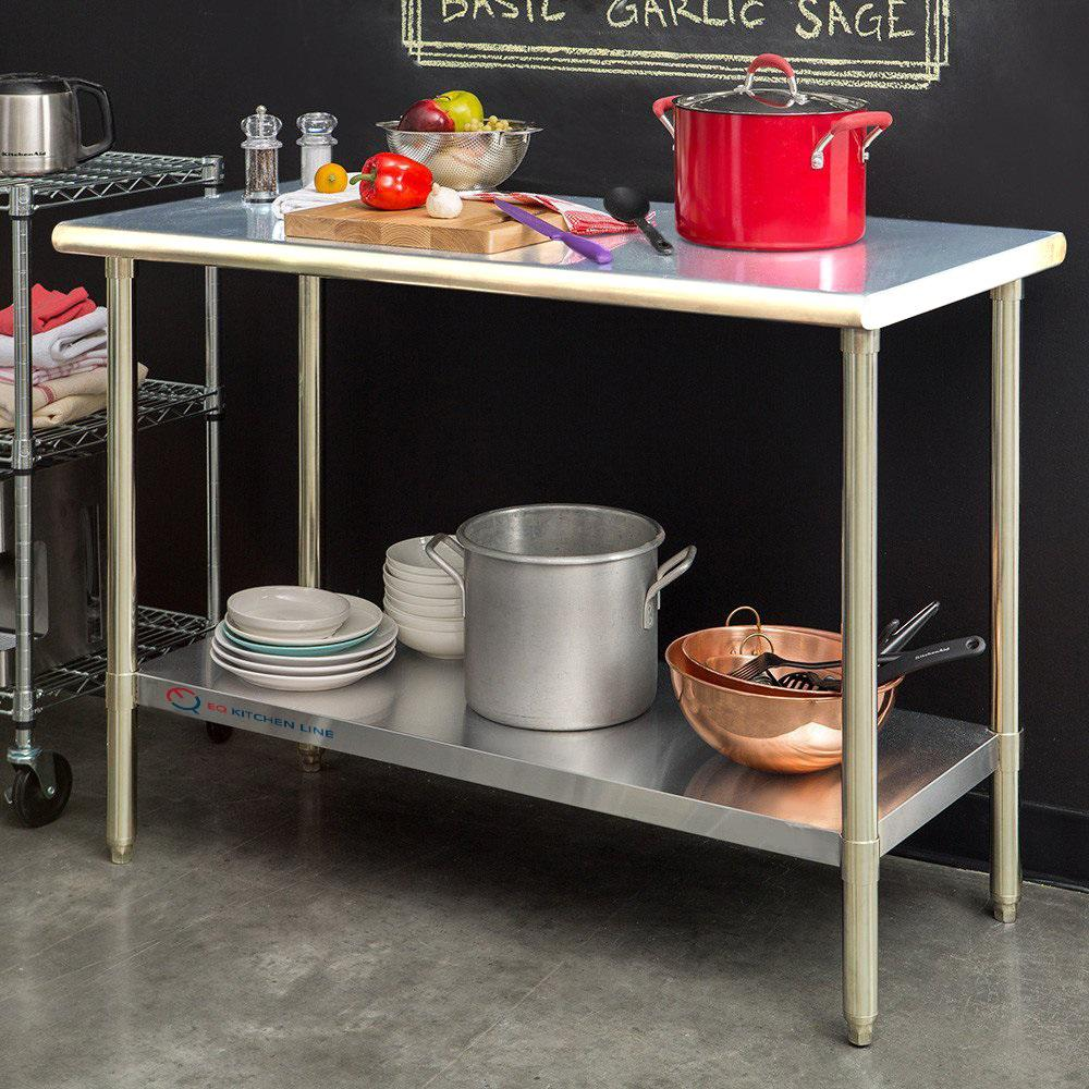 Null Stainless Steel Silver Kitchen Utility Table With Bottom Shelf