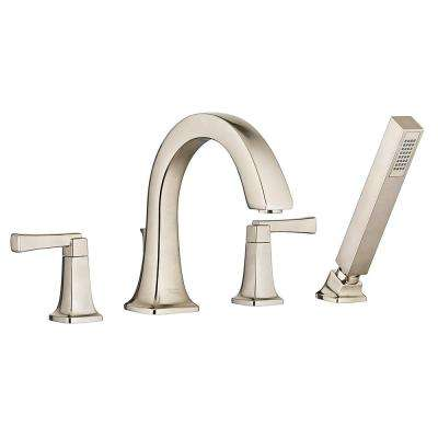 Townsend 2-Handle Deck-Mount Roman Tub Faucet with Personal Hand Shower in Brushed Nickel