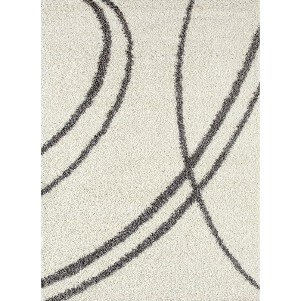 Soft Cozy Contemporary Stripe Cream/White 3 ft. 3 in. x 5 ft. Indoor Shag Area Rug