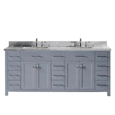 Caroline Parkway 79 in. W Bath Vanity in Gray with Marble Vanity Top in White with Square Basin
