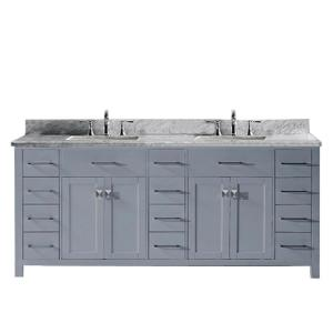 Virtu USA Caroline Parkway 78 inch W x 22 inch D Double Vanity in Gray with Marble Vanity Top in White with White Basin by Virtu USA