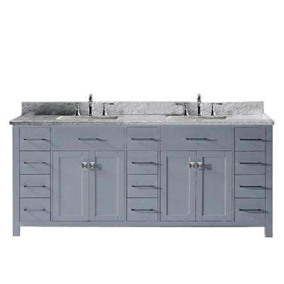 Caroline Parkway 78 in. W x 22 in. D Double Vanity in Gray with Marble Vanity Top in White with White Basin