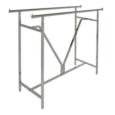 Heavy Duty Chrome Metal Double Bar Adjustable Clothes Rack (60 in. W x 48 in. H)
