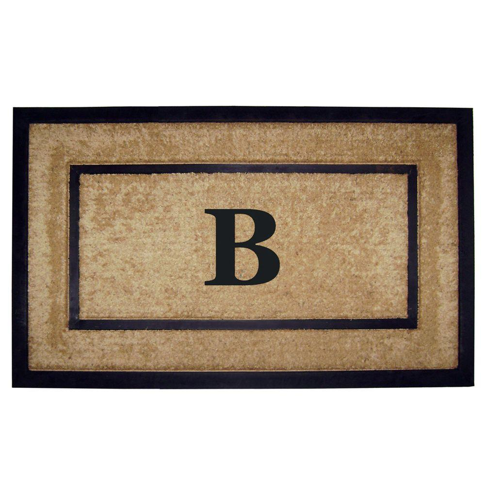 Nedia Home DirtBuster Single Picture Frame Black 22 in. x 36 in. Coir with Rubber Border Monogrammed B Door Mat