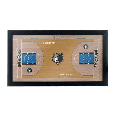 Minnesota Timerberwolves Official NBA Court 15 in. x 26 in. Black Framed Plaque