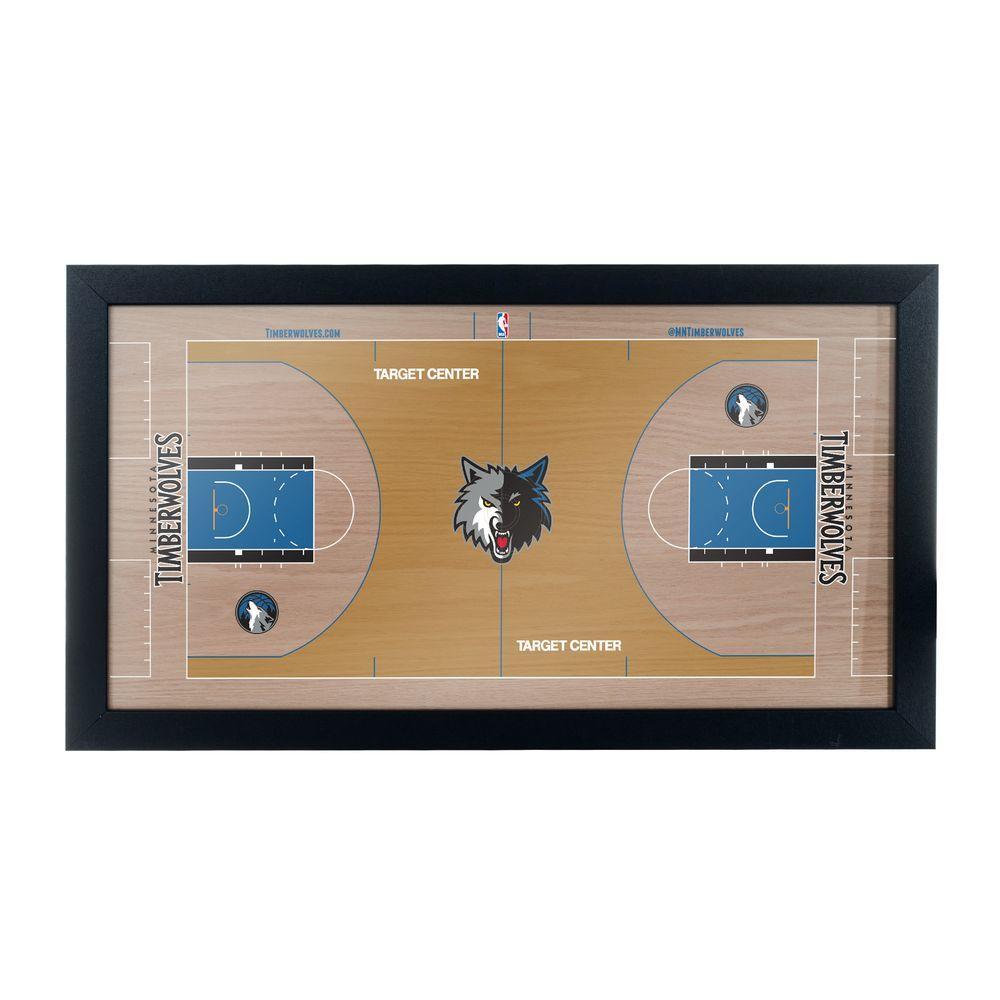 Minnesota Timerberwolves Official NBA Court 15 in. x 26 in. Black Framed Plaque