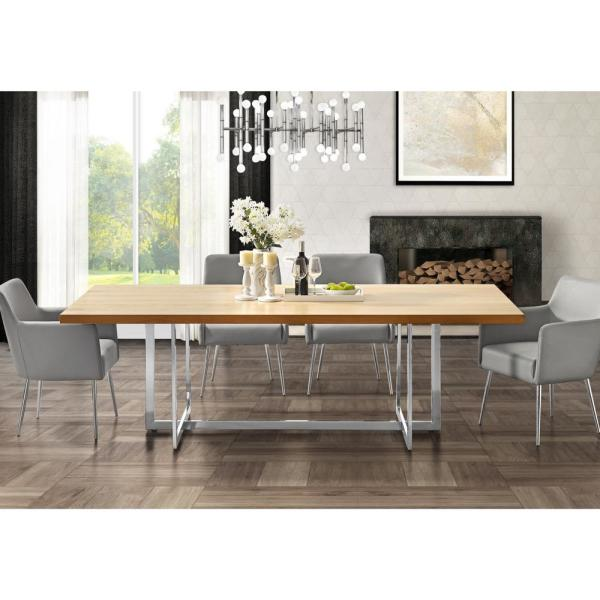 Inspired Home Davian 94 5 In Oak Wood Veneer Dining Table With Chrome Metal Legs Dt122 09akl Hd The Home Depot