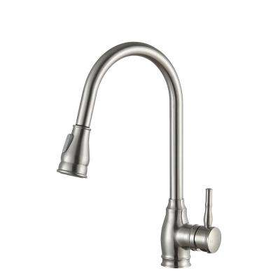 Bell Single-Handle Pull-Out Sprayer Kitchen Faucet in Brushed Nickel