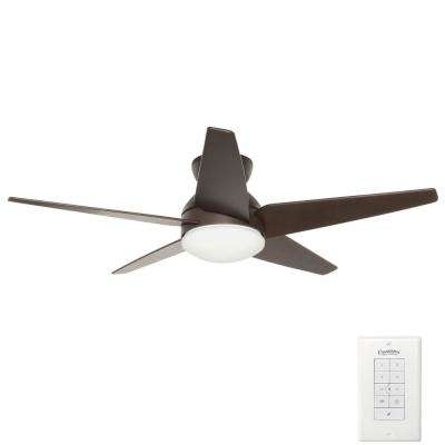 Isotope 52 in. Indoor Brushed Cocoa Bronze Ceiling Fan with 4 Speed Wall Mount Remote