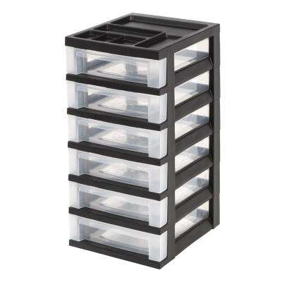 12.05 in. x 24.5 in. Black 6-Drawer Storage Cart with Organizer Top