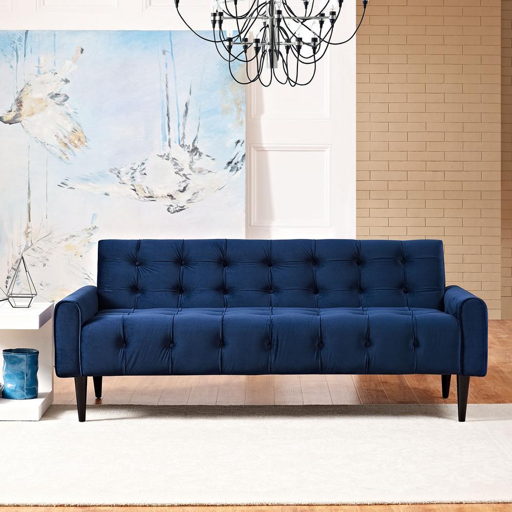 Delve Navy Velvet Sofa