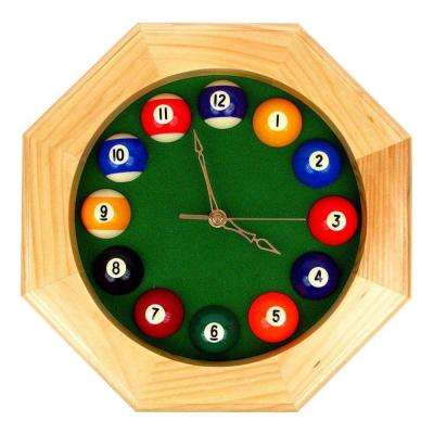 12 in. Octagonal Billiards Quartz Wood Wall Clock