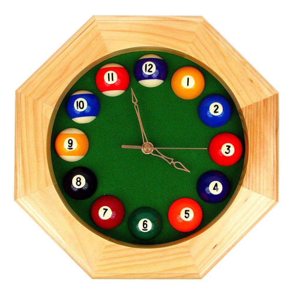 12 in. Octagonal Billiards Quartz Wood Wall Clock