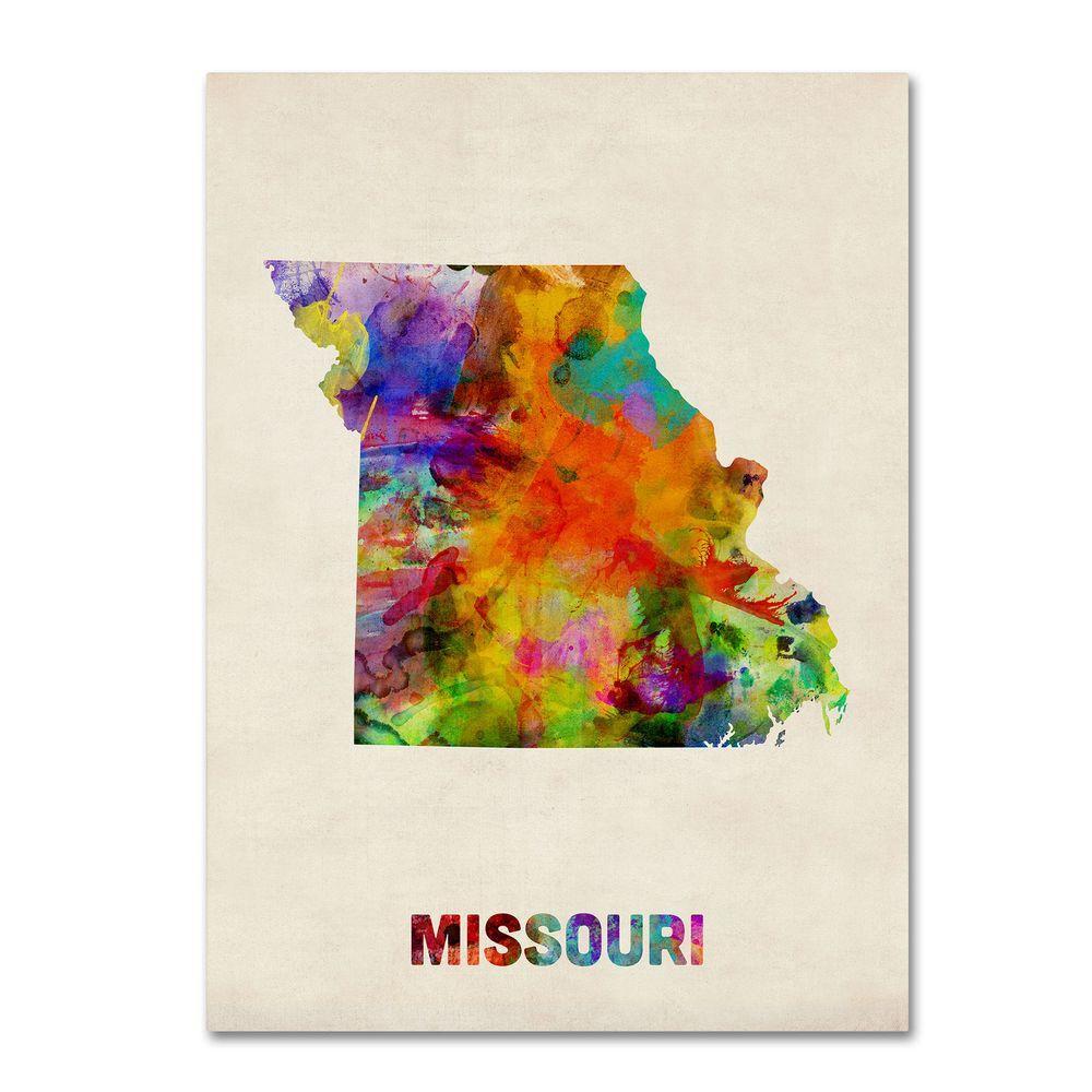 24 in. x 32 in. Missouri Map Canvas Art