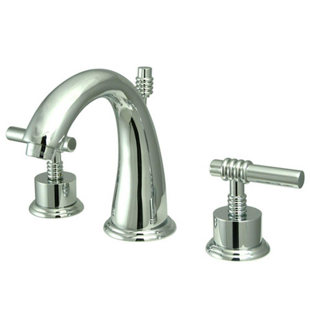 Kingston Brass Modern 8 In. Widespread 2-Handle Mid-Arc Bathroom Faucet In Chrome-HKS2961ML