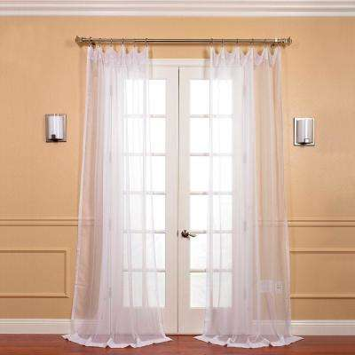 Solid Voile Poly Sheer Curtain in White - 50 in. W x 120 in. L (2-Panel)