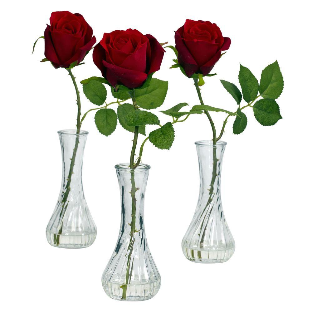 12 In H Red Rose With Bud Vase Set Of 3 1269 S3 The Home Depot