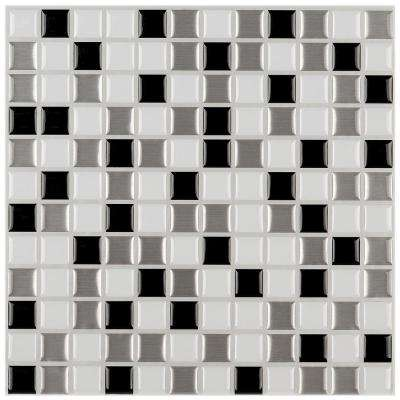 3 in. x 6 in. Peel and Stick Mosaic Decorative Wall Tile Sample in Shades of Gray and White