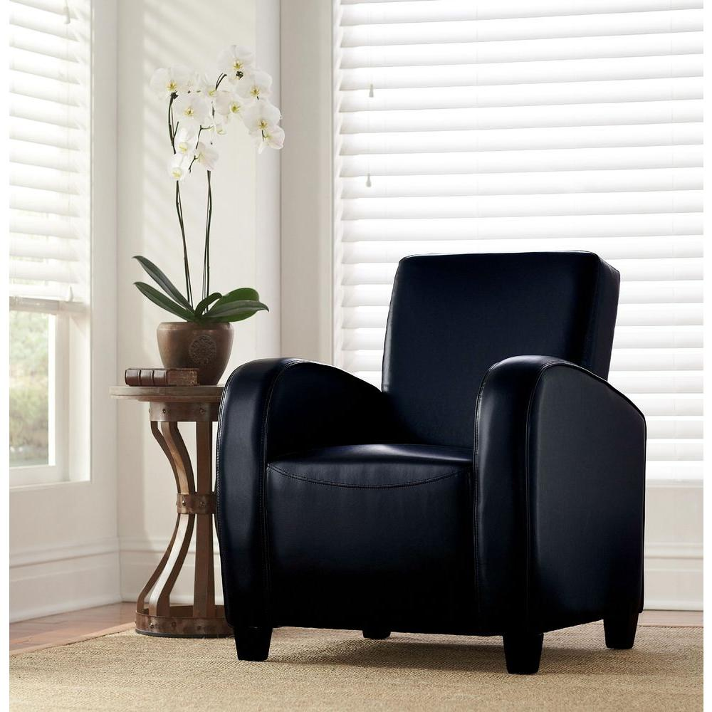 Null Black Bonded Leather Club Arm Chair