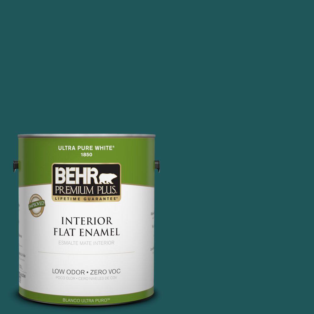 BEHR Premium Plus 1-gal. #PPF-56 Terrace Teal Zero VOC Flat Enamel Interior Paint-DISCONTINUED