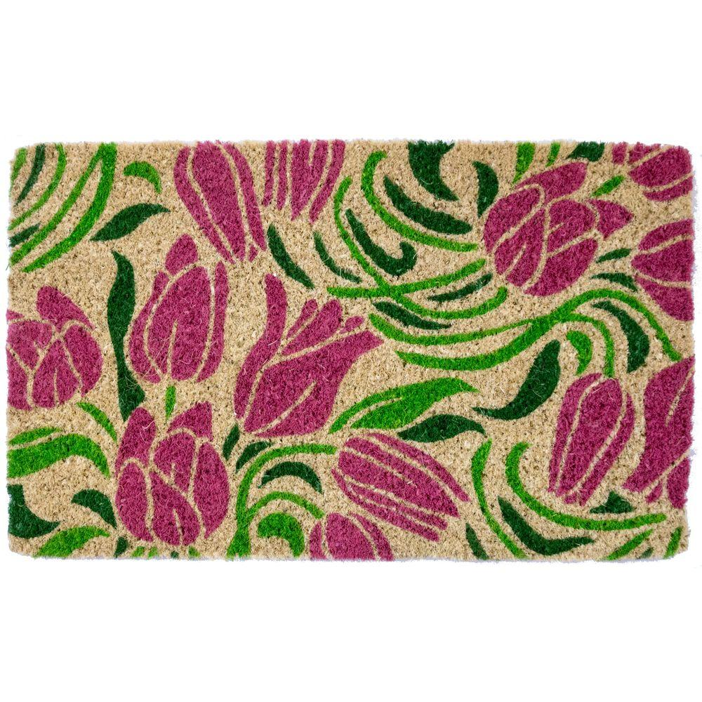Blushing Tulips 18 in. x 30 in. Hand Woven Coconut Fiber