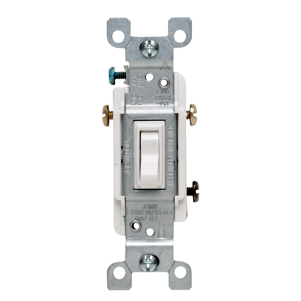 Leviton 15 Amp 3 Way Toggle Switch White R62 01453 02w The Home Depot Three Circuit Diagram