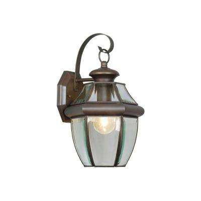 1-Light Bronze Outdoor Wall Lantern with Clear Beveled Glass