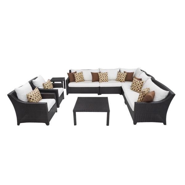 Deco 9-Piece Patio Corner Sectional and Club Chair Set with Moroccan Cream Cushions
