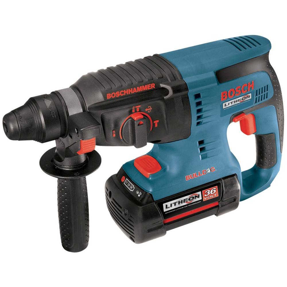 Bosch 36 Volt Lithium-Ion Cordless 1 in. SDS-plus Variable Speed Rotary Hammer with 2 Batteries, Charger, Case and Side Handle