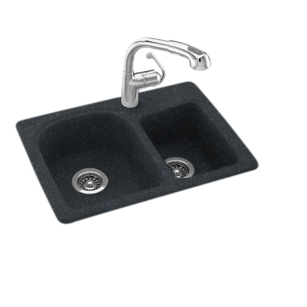 null Dual Mount Composite 25 in. 1-Hole Double Bowl Kitchen Sink in Black Galaxy