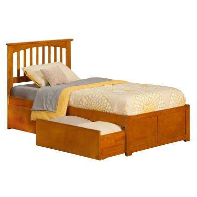 Mission Caramel Twin Platform Bed with Flat Panel Foot Board and 2-Urban Bed Drawers
