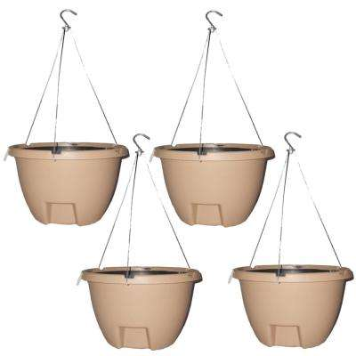 The Weekender 16 in. Sand Polypropylene Hanging Self-Watering Planter (4-Pack)