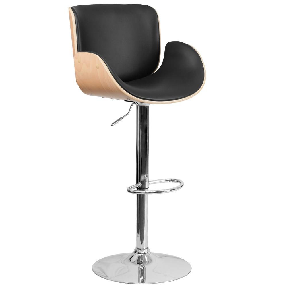 Adjustable Height Beech and Black Cushioned Bar Stool