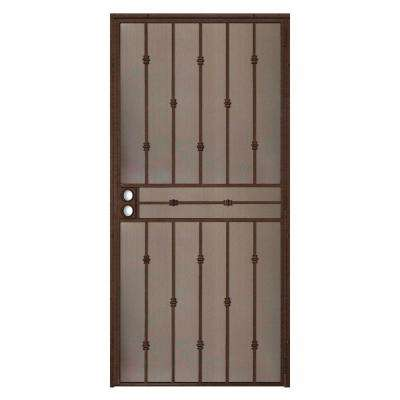 36 in. x 80 in. Cabo Bella Copper Surface Mount Outswing Steel Security Door with Fine-grid Steel Mesh Screen