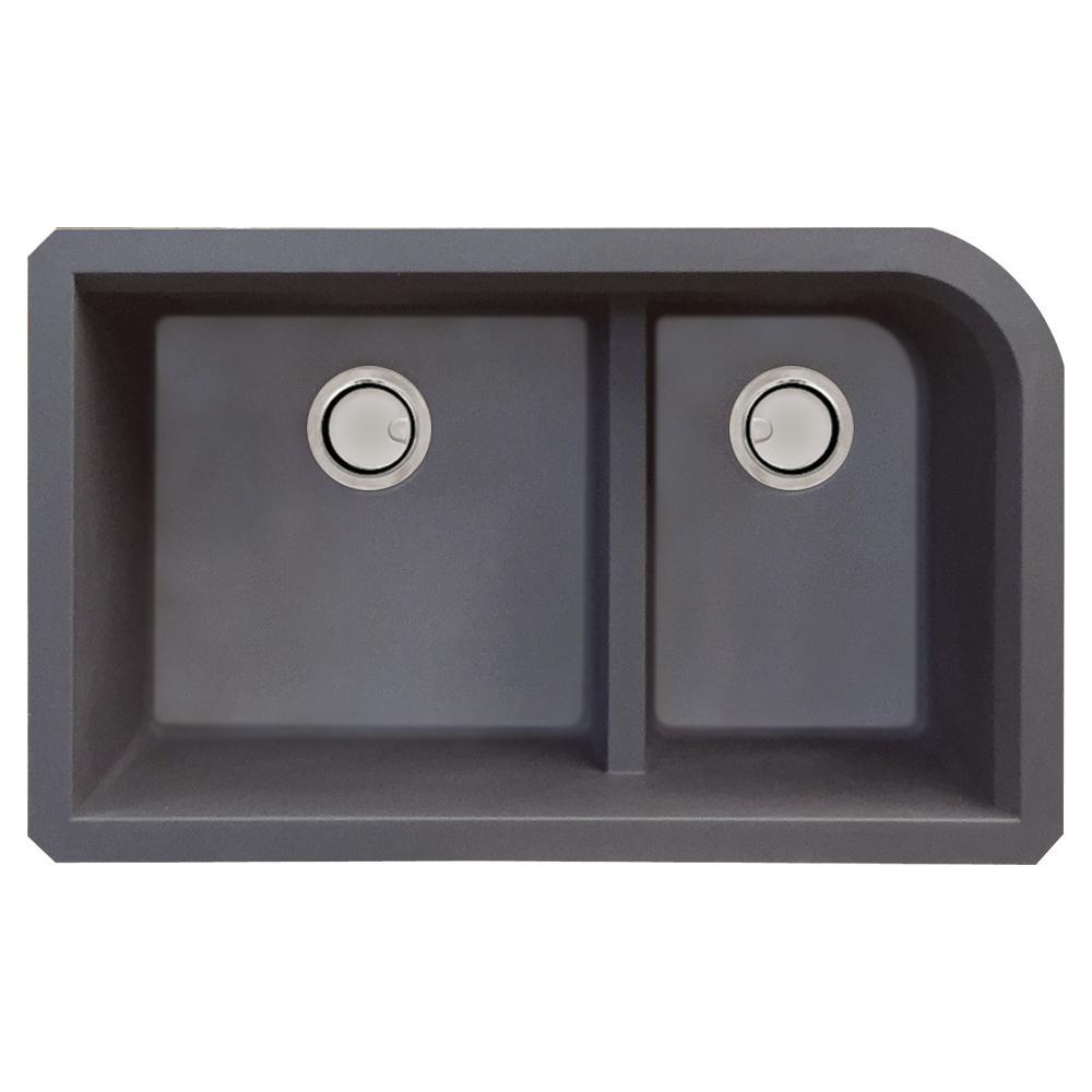 Radius Undermount Granite 32 in. 1-3/4 J-Shape Double Bowl Kitchen Sink in Grey