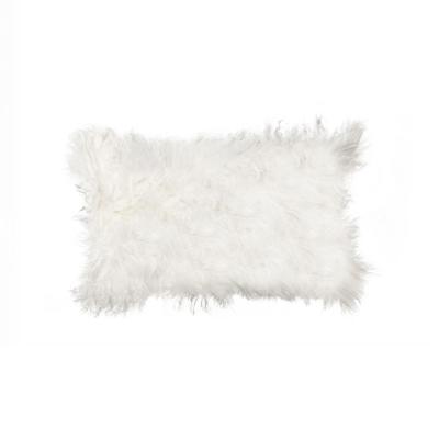 Mongolian Sheepskin White Solid 12 in. x 20 in. Throw Pillow