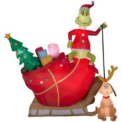 Pre-Lit Inflatable Grinch and Max in Sleigh Colossal Airblown Scene - The Grinch - Stake/stand Included - Christmas Inflatables - Outdoor