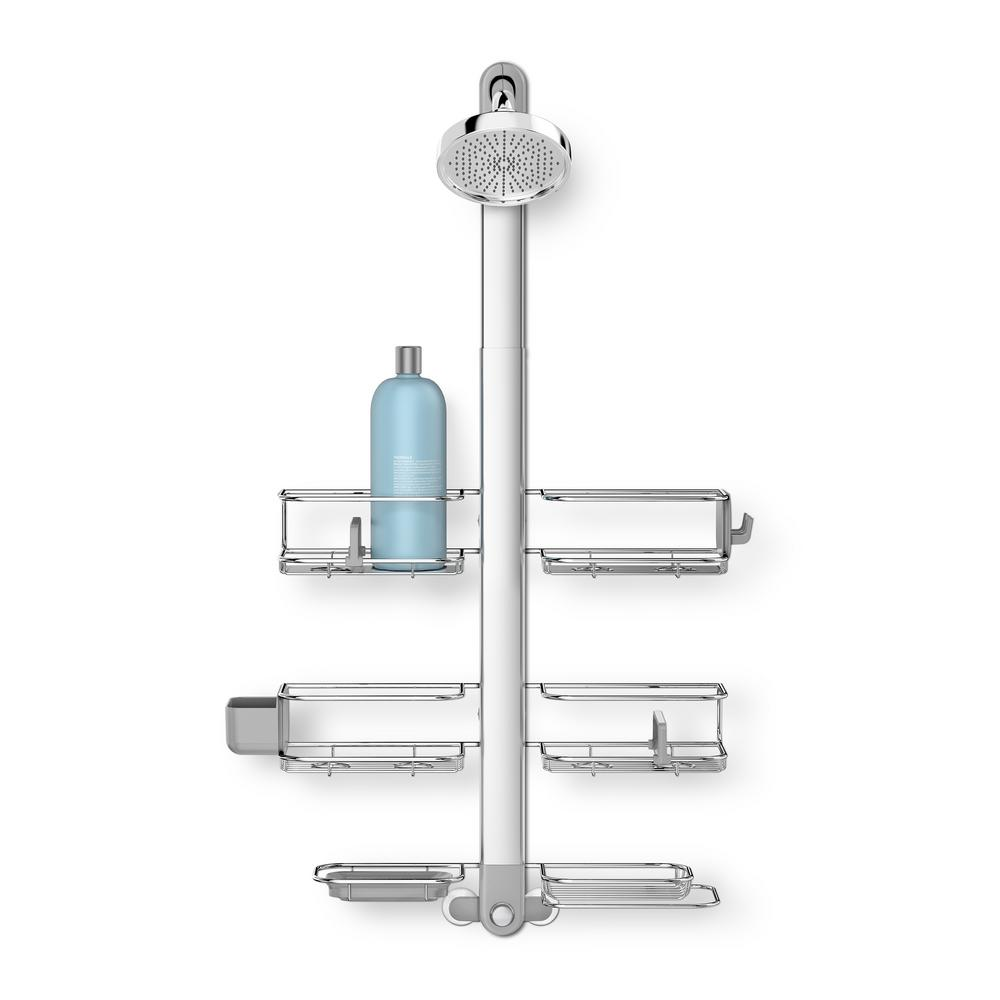 3-Tier Adjustable Shower Caddy XL in Stainless Steel and Anodized Aluminum