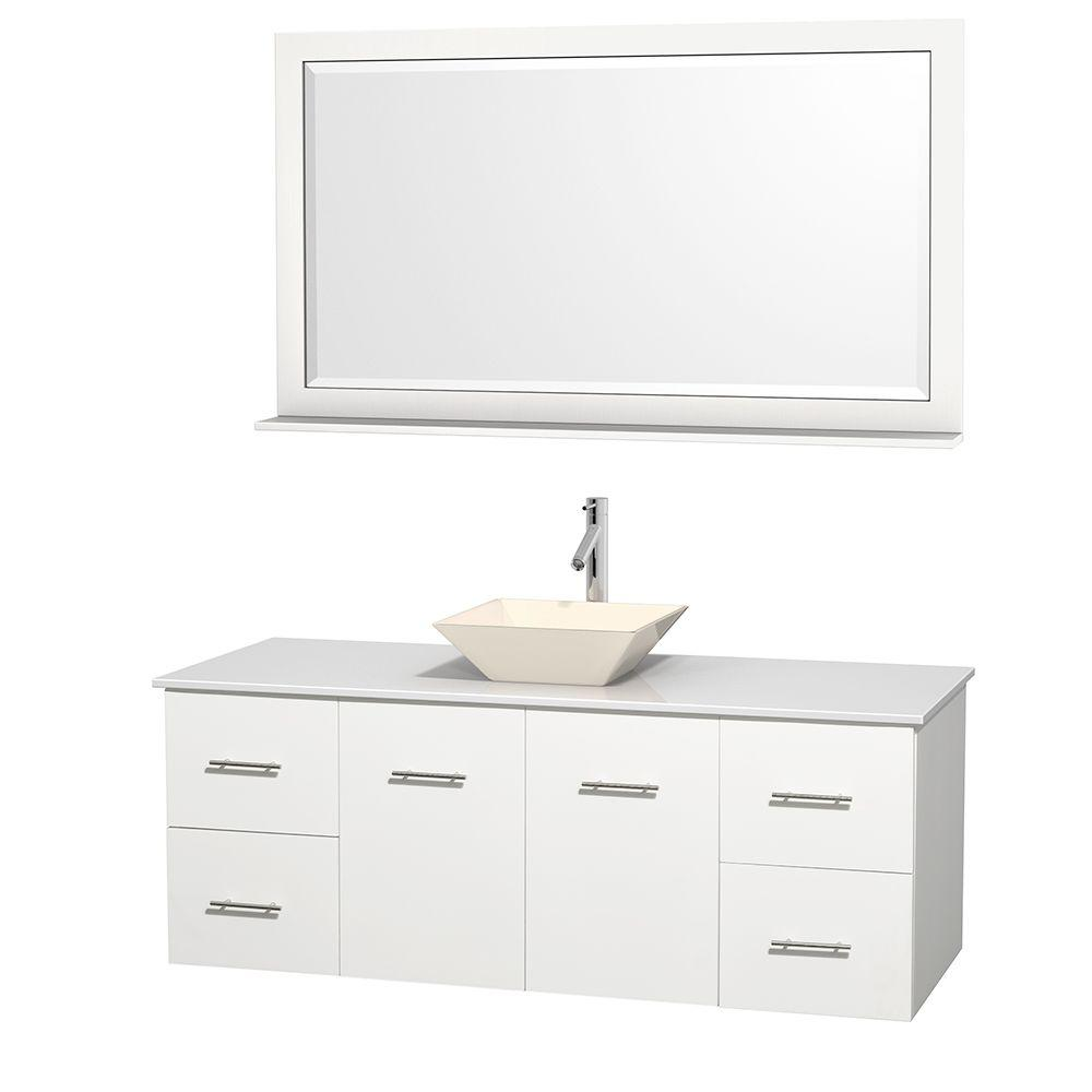Wyndham Collection Centra 60 in. Vanity in White with Solid-Surface Vanity Top in White, Bone Porcelain Sink and 58 in. Mirror