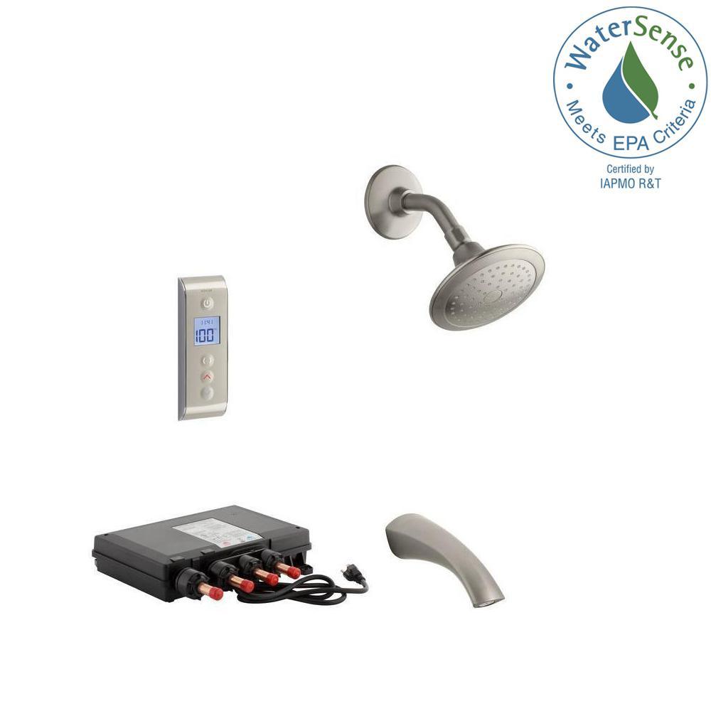 KOHLER Mistos DTV Prompt 2.0 GPM Tub and Shower Set in Brushed Nickel (Valve Included)