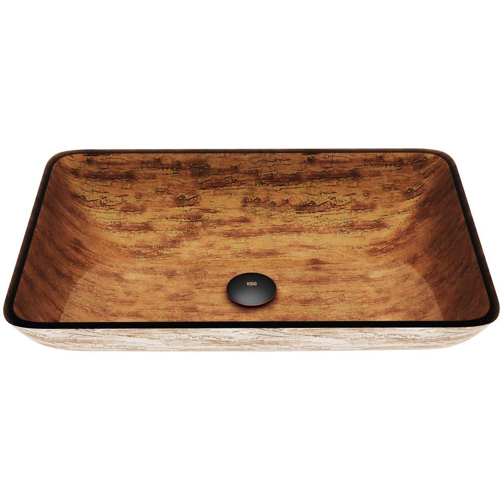 Amber Sunset Handmade Countertop Glass Rectangle Vessel Bathroom Sink in Light Wood