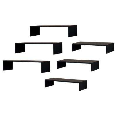 Extense 14 in. W x 4in. D and 10 in. W x 4 in. D Black Wall Shelves (Pack of 6)