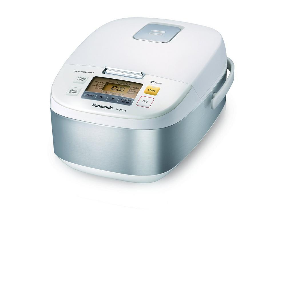 5-Cup Microcomputer Controlled Rice Cooker in Stainless Steel and White