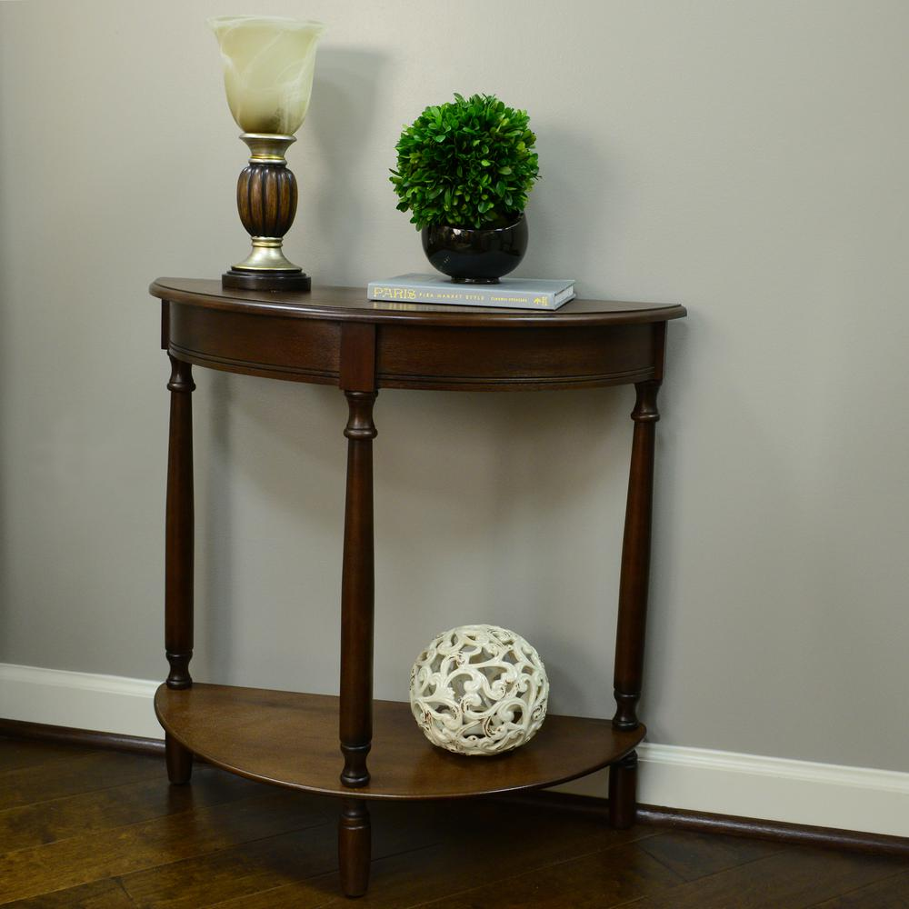 Decor Therapy Simplicity Walnut Half Round Console Table