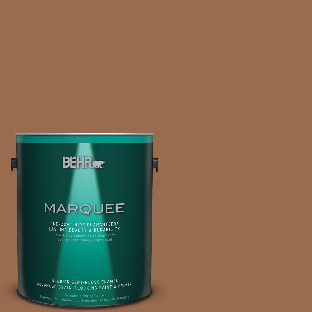 1 gal. #S230-7 Toasted Bagel One-Coat Hide Semi-Gloss Enamel Interior Paint