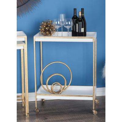 2-Tier Metal and Wood Tea Cart in Gold