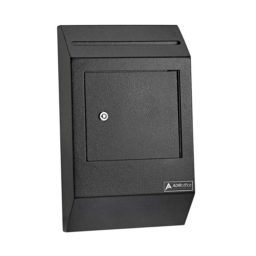 AdirOffice Heavy-Duty Weatherproof Secured Drop Box, Black