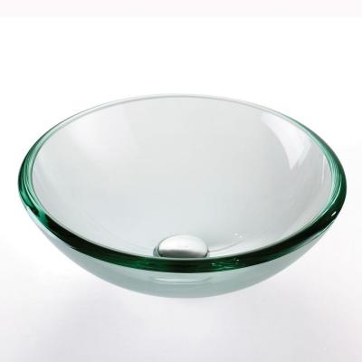 17 in. Glass Vessel Sink in Clear